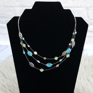 Lia Sophia Multi Strand Blue Silver Bead Necklace